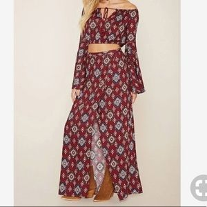 Tops - Ornate print crop top and maxi skirt set